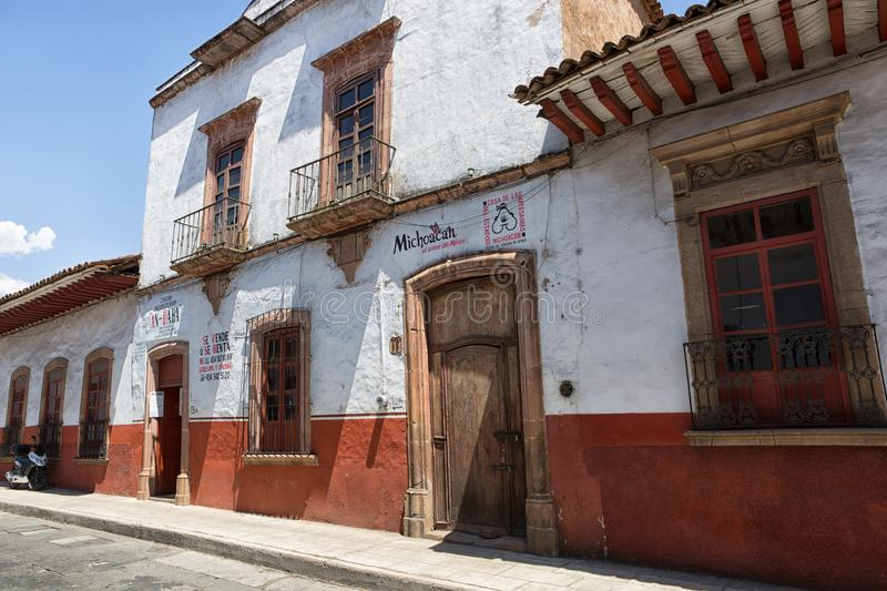 Colonial adobe houses in Patzcuaro Mexico stock image