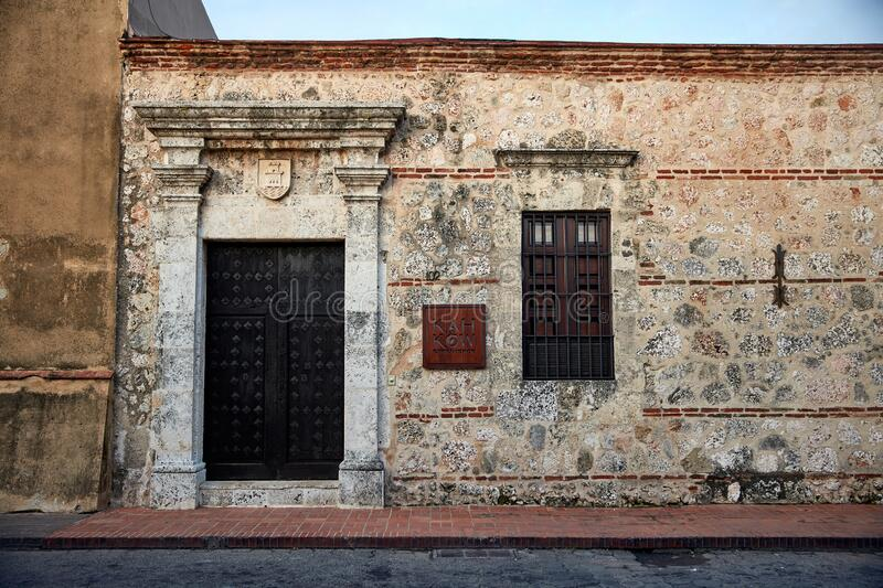 Colonial Architecture Detail. Typical colonial style in Santo Domingo, Dominican Republic. 27.12.2016 stock photos