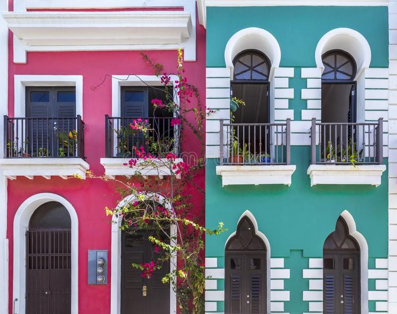 Colonial architecture of old San Juan in Puerto Rico stock photo