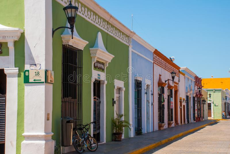 Colonial architecture in San Francisco de Campeche, Mexico. Street with colorful facades of houses. royalty free stock image