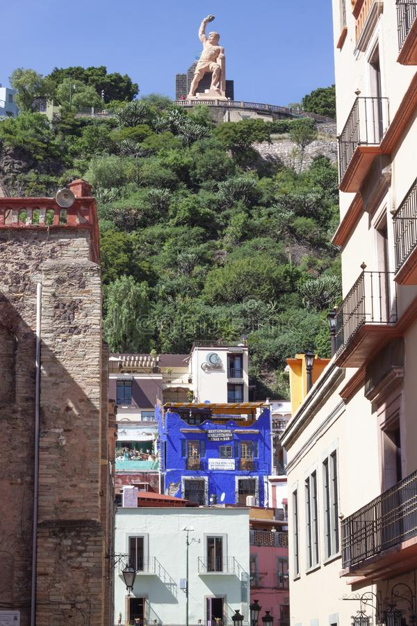 Panoramic of a street in Guanajuato, Mexico stock images