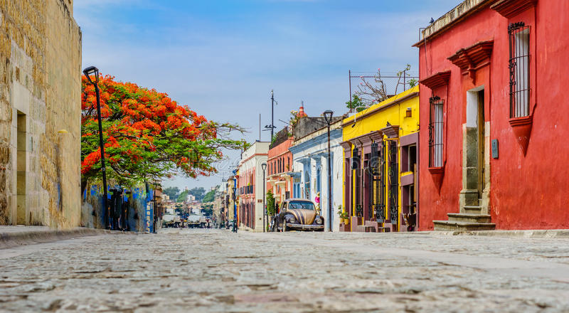 Colonial buidlings in old town of Oaxaca city in Mexico royalty free stock photo