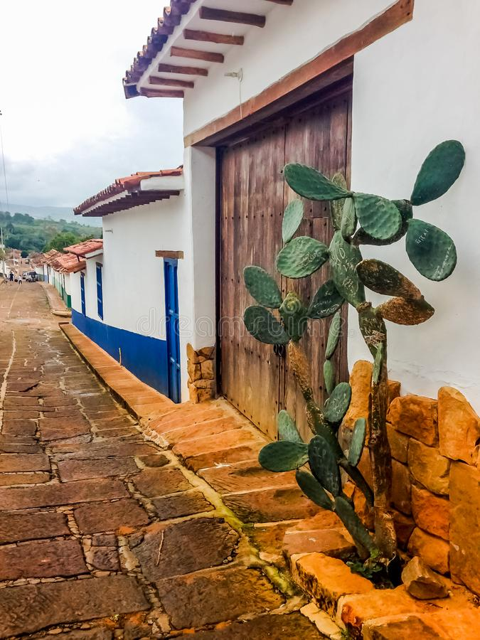 Colonial buidlings in the streets of Barichara - Colombia stock photo