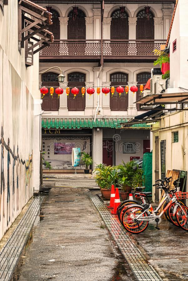 Colonial buildings in Chinatown, Singapore. Singapore - January 12, 2018: Facade of the old colonial house in the part of Singapore called Chinatown royalty free stock photography