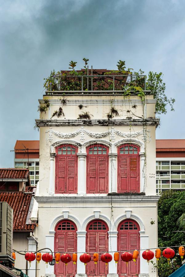 Colonial buildings in Chinatown, Singapore. Singapore - January 12, 2018: View at the facade of the old colonial house in the part of Singapore called Chinatown royalty free stock photos