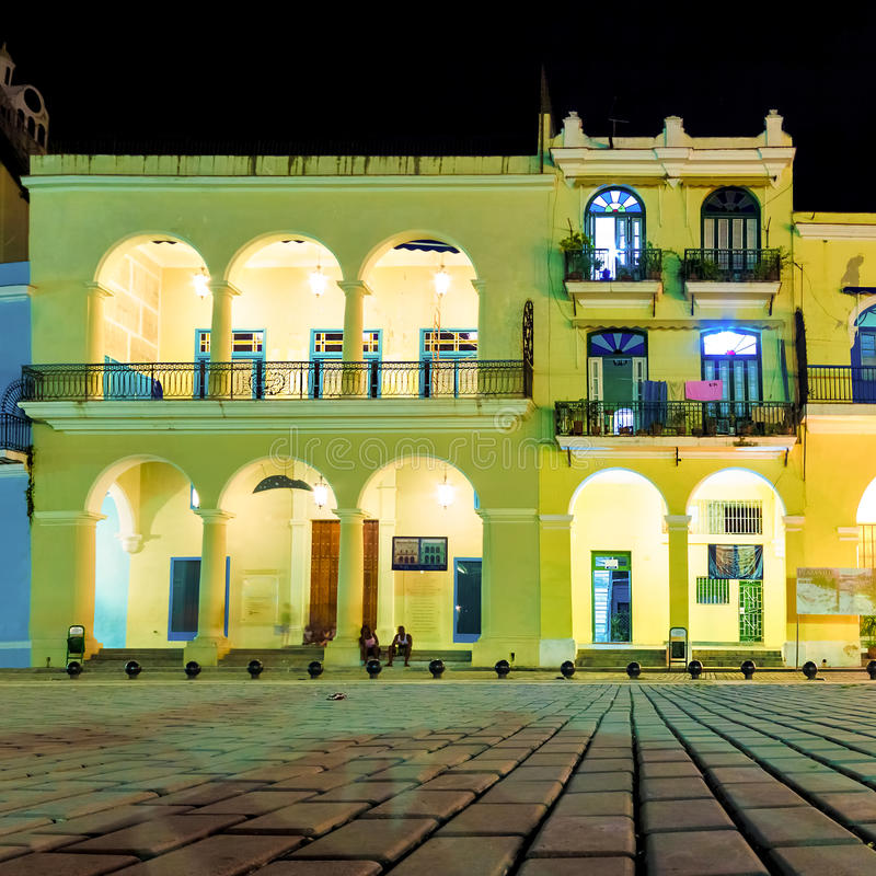 Colonial buildings in Old Havana at night