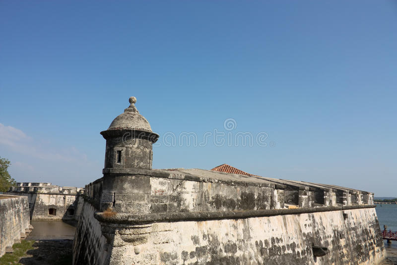 Colonial castle of Cartagena de Indias. Colombia royalty free stock photo