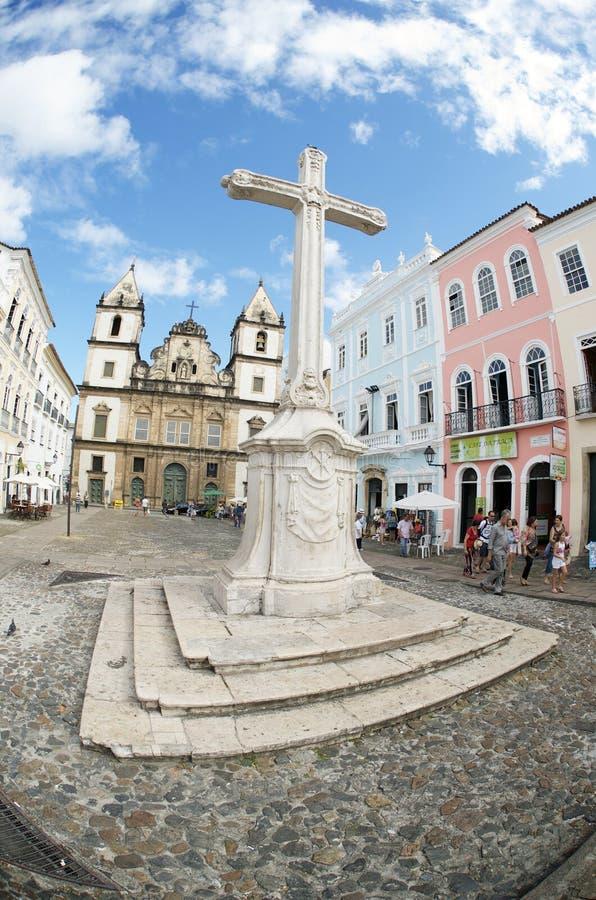 Colonial Christian Cross in Pelourinho Salvador Bahia Brazil stock photos