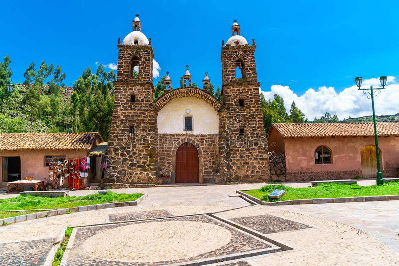 Colonial church in San Pedro village. At Raqchi ruins in the Cusco region, Peru royalty free stock images