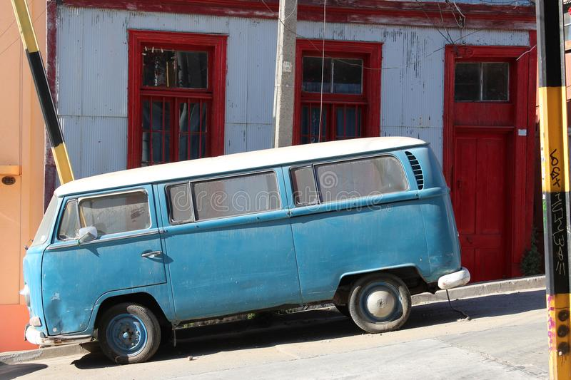Vintage van in Old Pacific seaport city of Valparaiso, World Heritage Site and cultural capital of Chile. The colonial city of Valparaíso, Chile, enjoyed a stock images