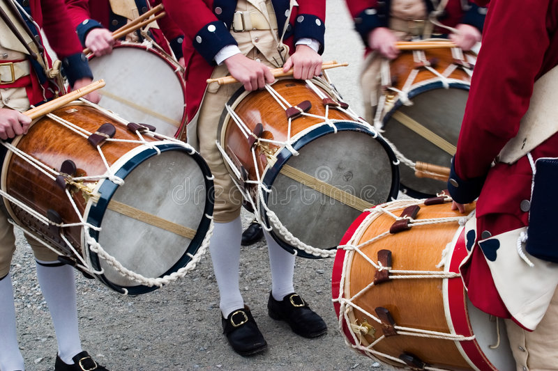Colonial drummers. In Jamestown, Virginia stock photography