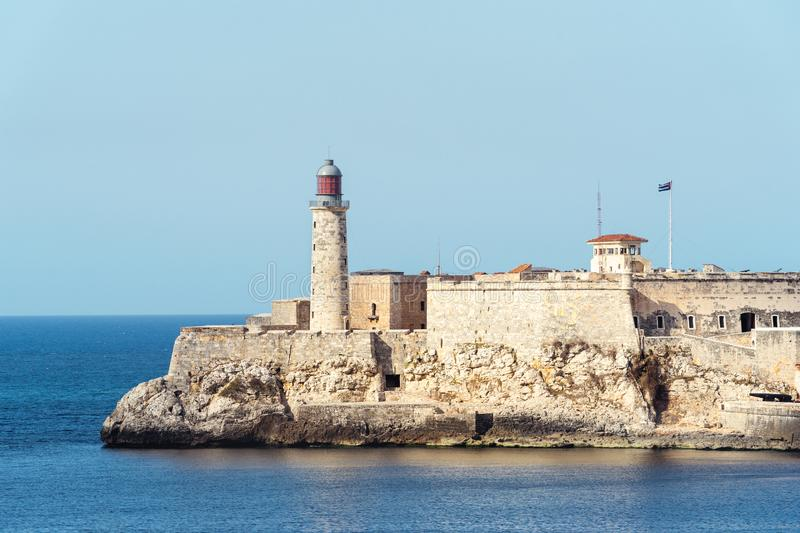 Colonial fort at the mouth of Havana harbor stock image