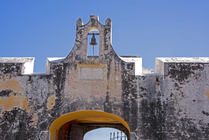 Colonial fortification with bell tower royalty free stock photo