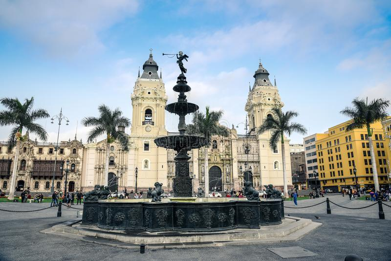 Lima / Peru - 07.18.2017: Colonial fountain in Plaza de Armas royalty free stock photo