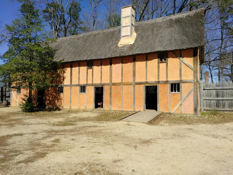 Colonial historic home. Old fashioned home in Jamestown stock photos