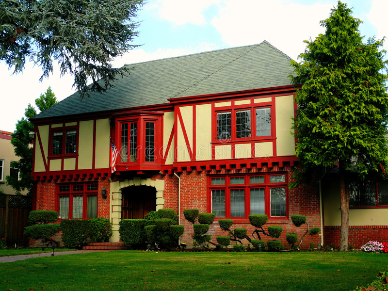 Download Colonial House With Red Beams Stock Image - Image: 7250341