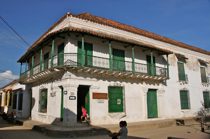 Colonial House, Street Corner, Mompos, Colombia stock photo