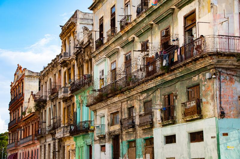 Colonial houses in the old city center of Havana. Colonial houses in the old city center stock photos