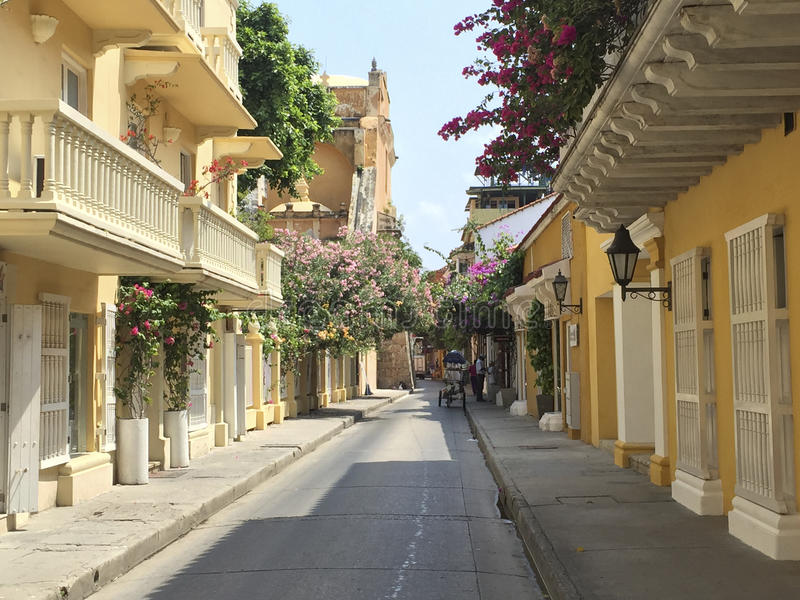 Colonial houses on street in Cartagena de Indias, Colombia. Colonial houses on street in Cartagena, Colombia royalty free stock images