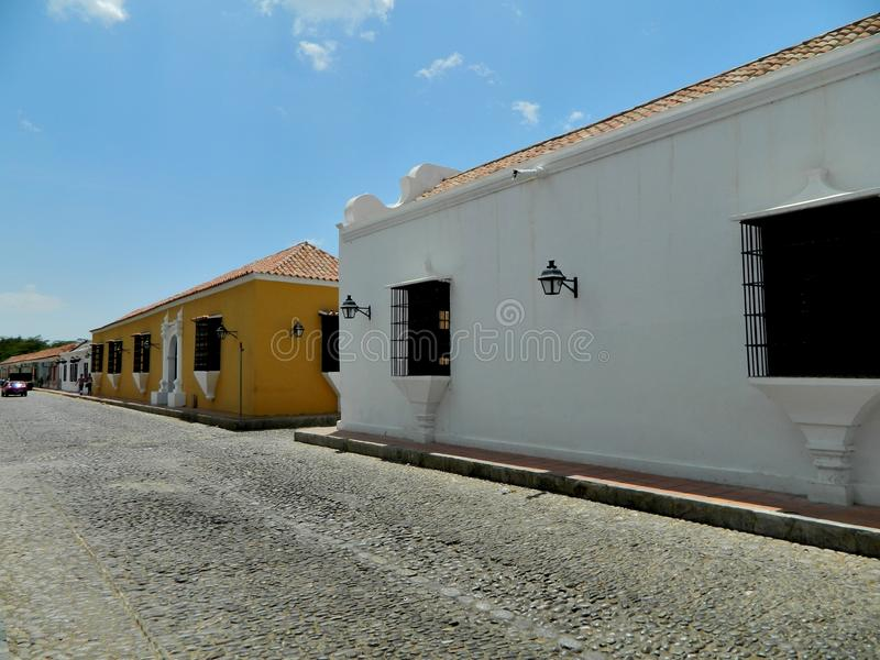 Colonial Houses. View of a street in the city of Coro, Falcon state in Venezuela, with houses that date from the colonial era, the area is part of the World stock photography