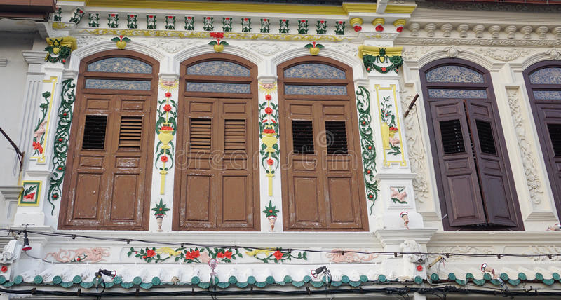 Colonial old building facade in Singapore royalty free stock photo