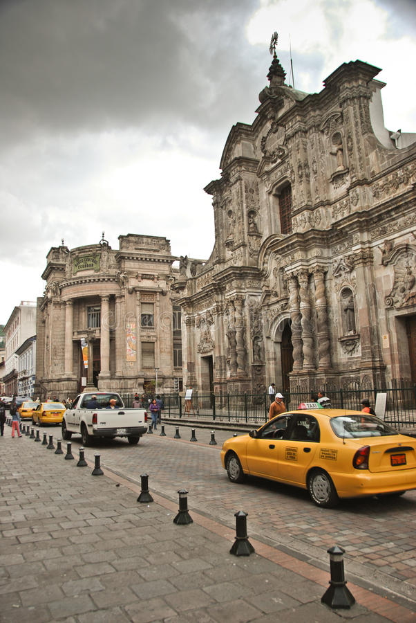Colonial streets of Quito royalty free stock photo