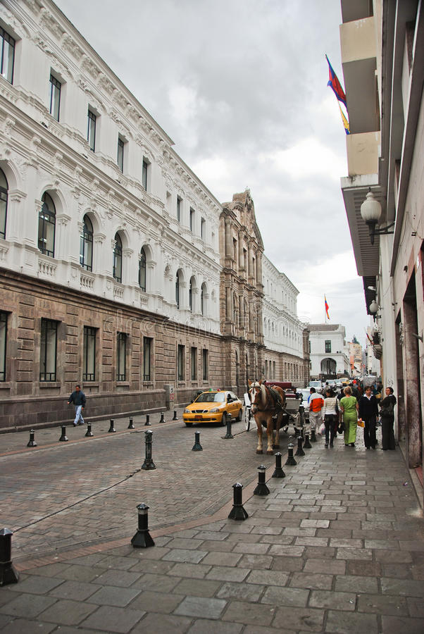 Colonial streets of Quito royalty free stock images
