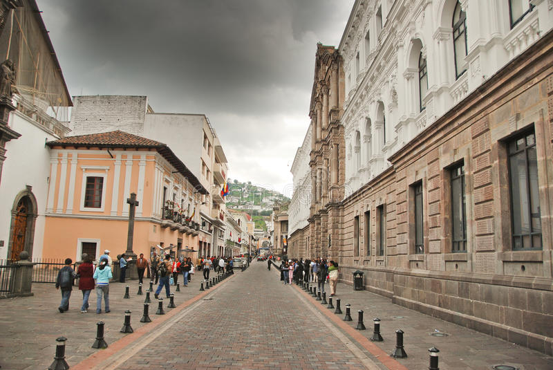 Colonial streets of Quito royalty free stock image