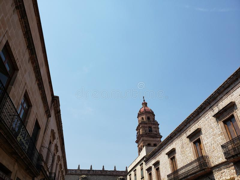 Colonial style architecture in the city of Morelia, Mexico. Michoacan, history, historic, town, travel, tourism, culture, ancient, old, traditional stock photo