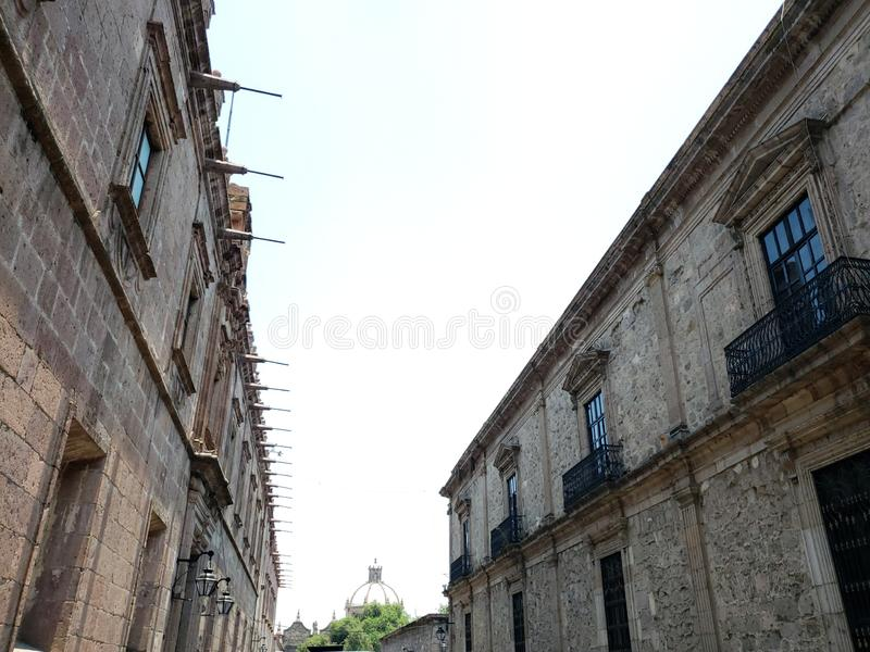 Colonial style architecture in the city of Morelia, Mexico. Vintage, history, historic, construction, building, outdoor, travel, tourism, vacation, michoacan stock photography