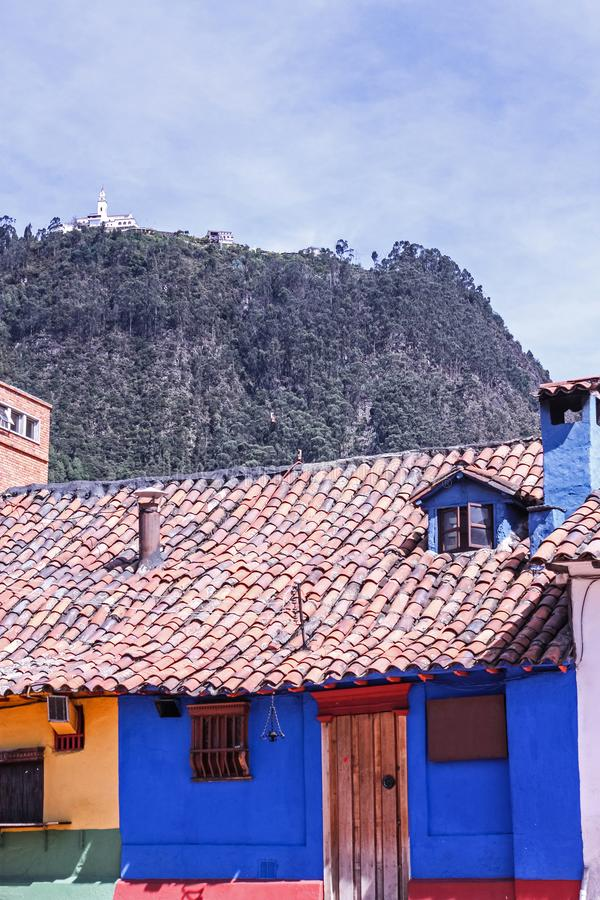 Colonial style houses. La Candelaria, Bogota. Blue house in the spanish colonial neighborhood of La Candelaria, Bogota, Colombia royalty free stock images
