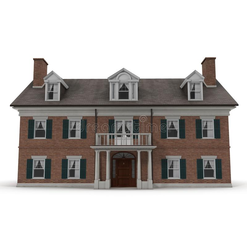 Colonial style reproduction home exterior on white. Front view. 3D illustration royalty free stock photos