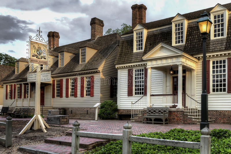 Colonial Williamsburg Kings Arms Tavern at dusk. royalty free stock photos