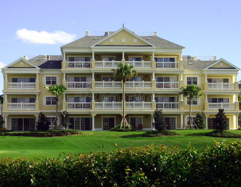 Colonial yellow resort hotel royalty free stock photography