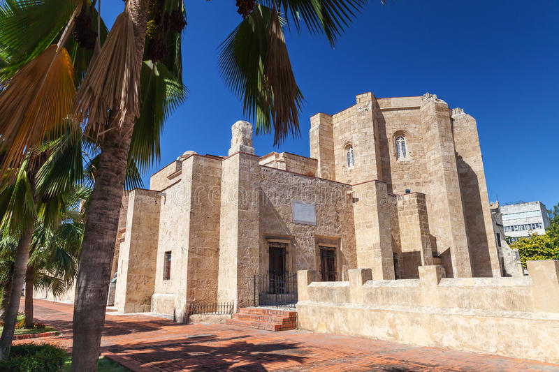 Colonial Zone of Santo Domingo. Basilica Cathedral of Santa Maria la Menor, rear entrance. Colonial Zone of Santo Domingo, Dominican Republic. It is the oldest royalty free stock images
