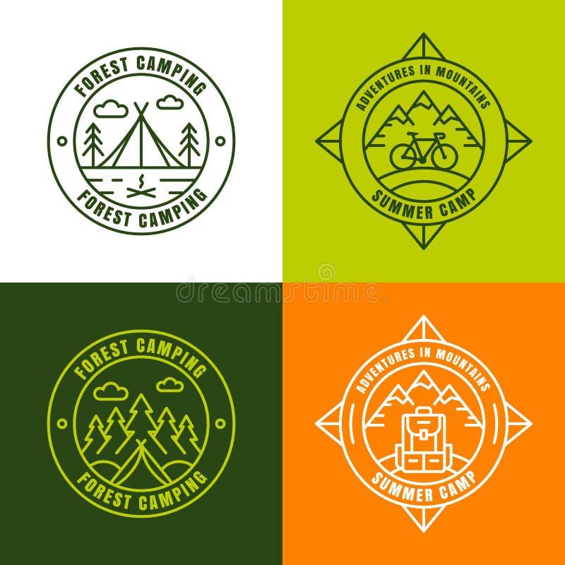 Colonie de vacances, éléments de conception de logo d'ensemble illustration libre de droits