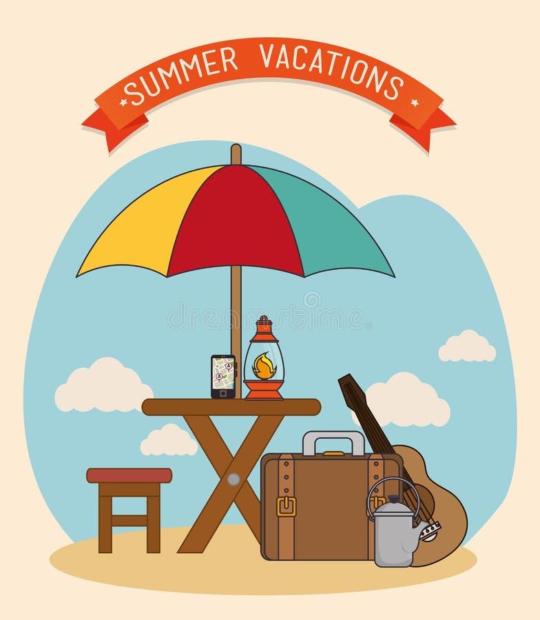 Colonie et voyage de vacances illustration stock