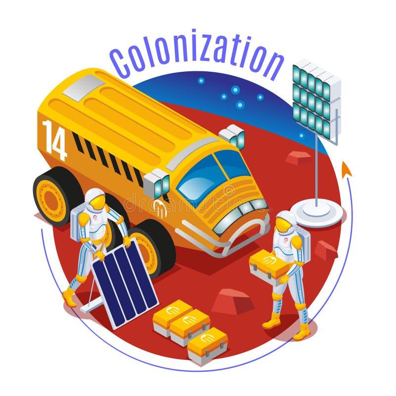 Colonisation de Mars sur le fond d'isolement illustration libre de droits