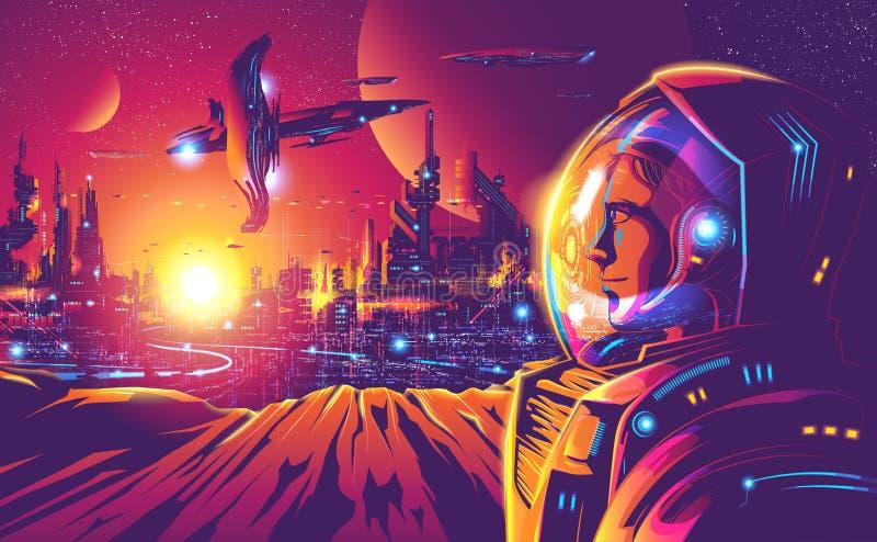Colonisation humaine de l'année 2230 illustration libre de droits