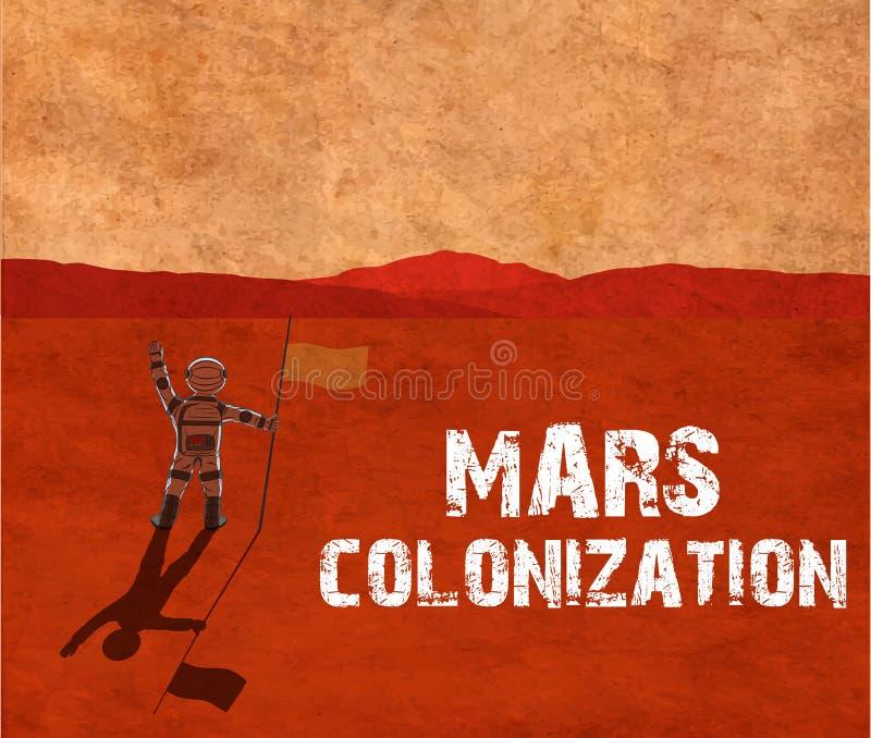 Colonización de Marte Astronauta en el planeta ilustración del vector