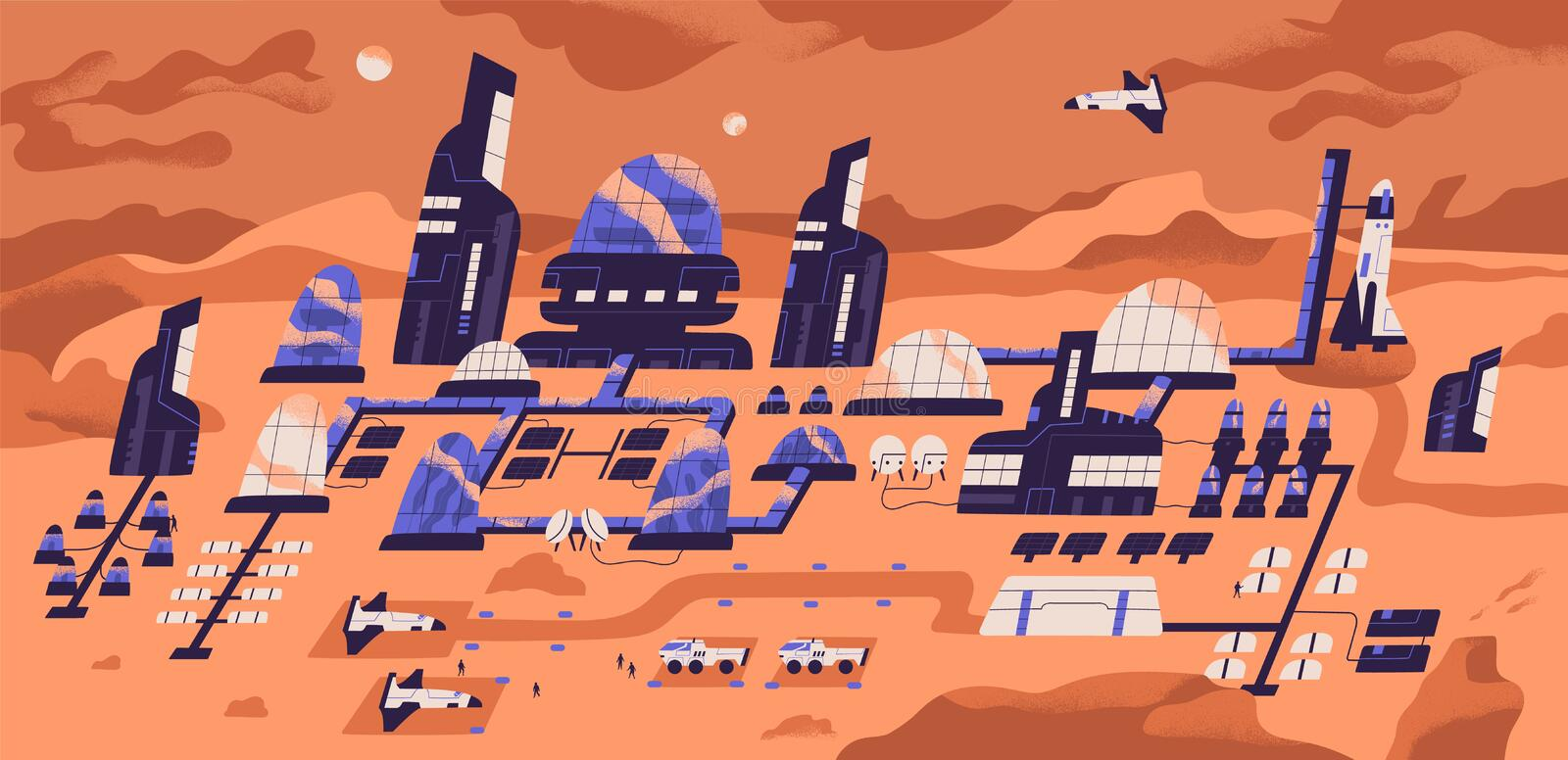 Colonization of Mars. Panoramic view of human settlement, habitat or space expedition base with modern buildings. Structures and landed spacecrafts on planet vector illustration