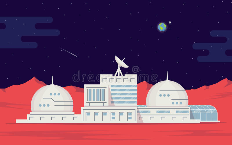 Colonization of Mars. Space base humans on the red planet. Space exploration and technology. vector illustration