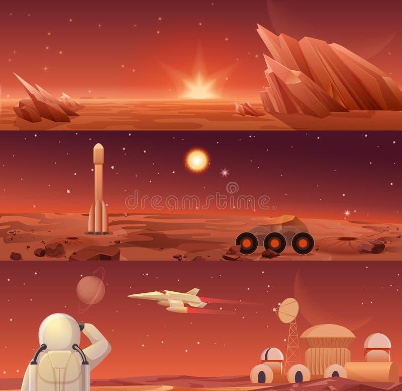 Colonizzazione ed esplorazione rosse di Marte del pianeta Landascape di Marte della galassia con il girovago, la navetta del razz illustrazione vettoriale