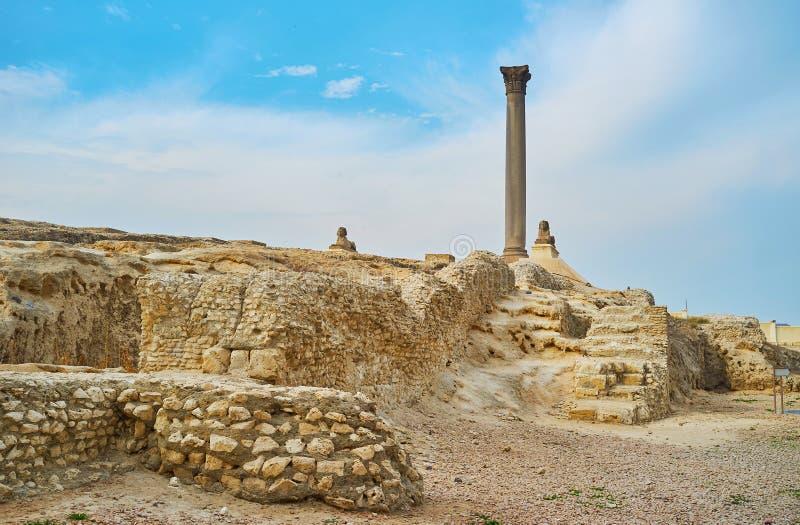 Colonna in Alessandria d'Egitto, Egitto del ` s di Pompey fotografia stock libera da diritti