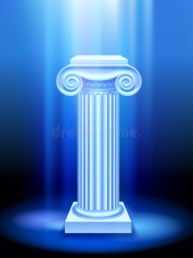 Colonna antica alla luce blu illustrazione vettoriale