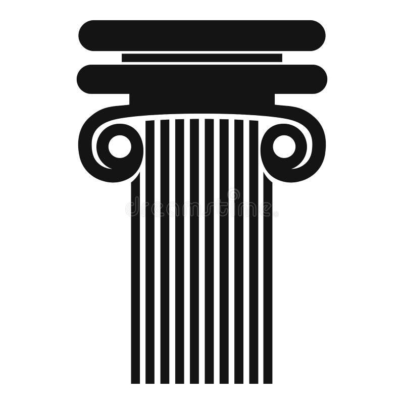 Colonna con l'icona del ricciolo, stile semplice illustrazione di stock