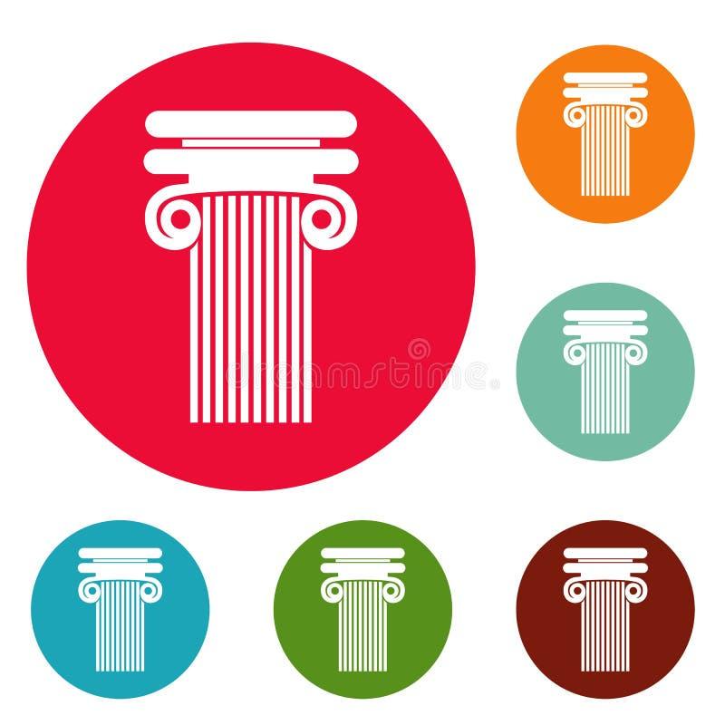 Colonna con l'insieme del cerchio delle icone del ricciolo royalty illustrazione gratis
