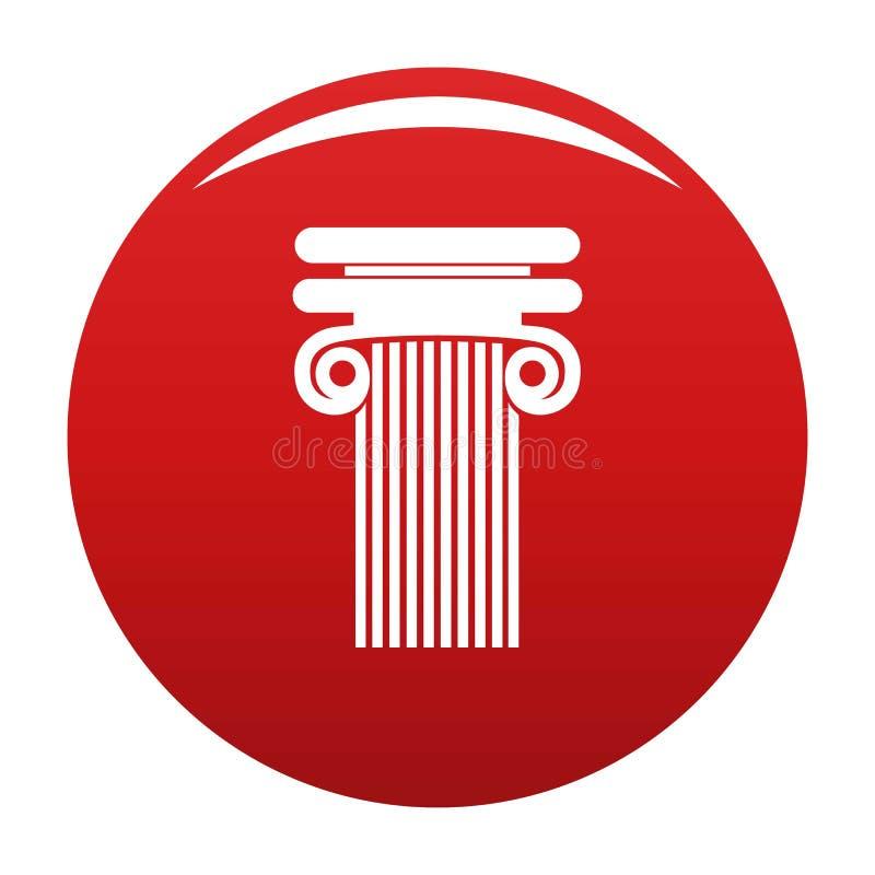 Colonna con rosso di vettore dell'icona del ricciolo illustrazione vettoriale