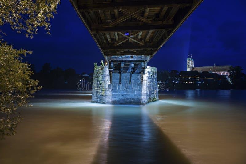 Colonna concreta del ponte storico in cattivo Saeckingen immagini stock