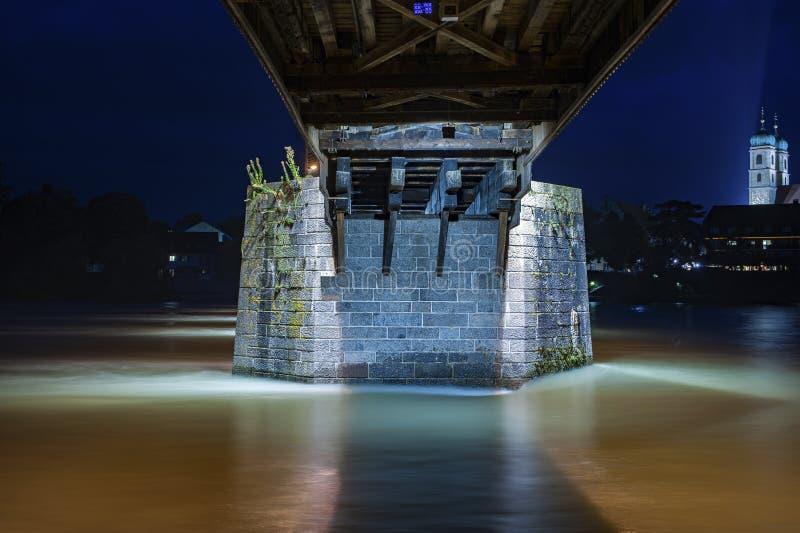 Colonna concreta del ponte storico in cattivo Saeckingen fotografia stock libera da diritti